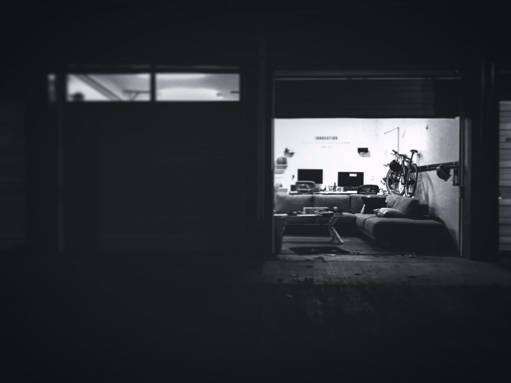 black and white photo of garage room