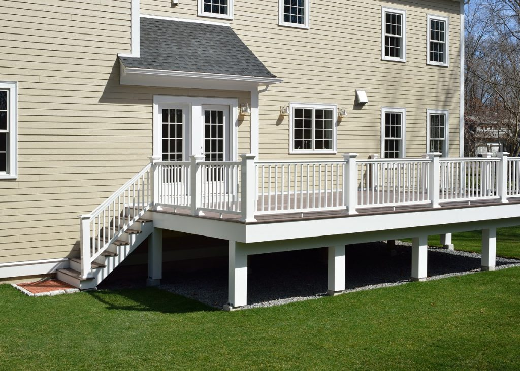 White veranda and railing posts