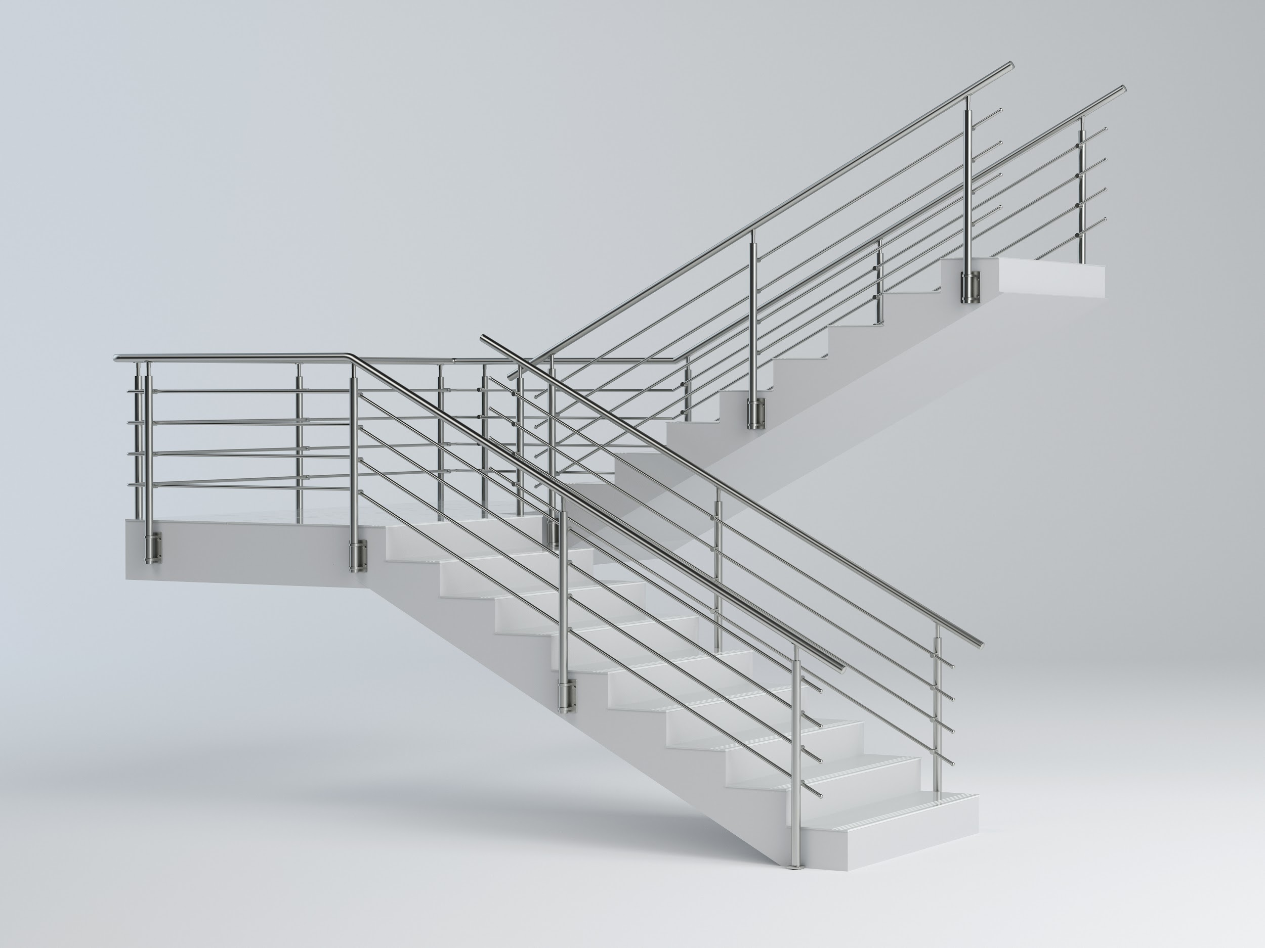 Stairs and stainless steel railing