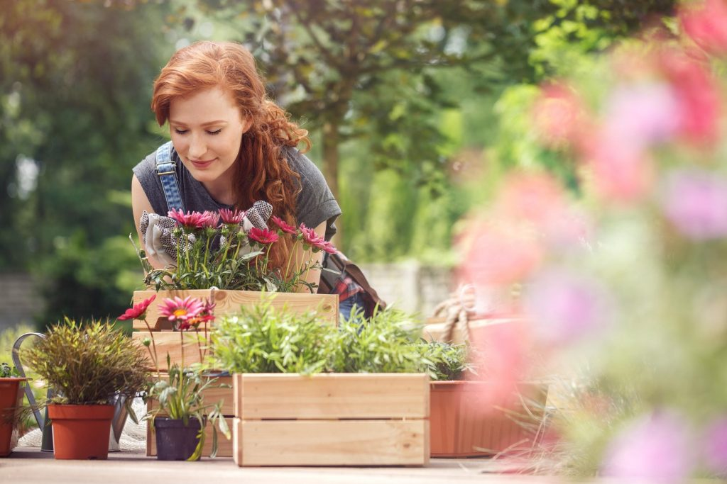 Red-haired girl smelling red flowers in wooden box