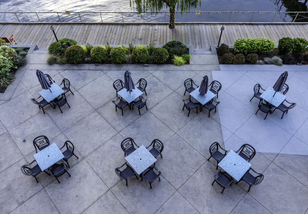 dining tables at outdoor restaurant
