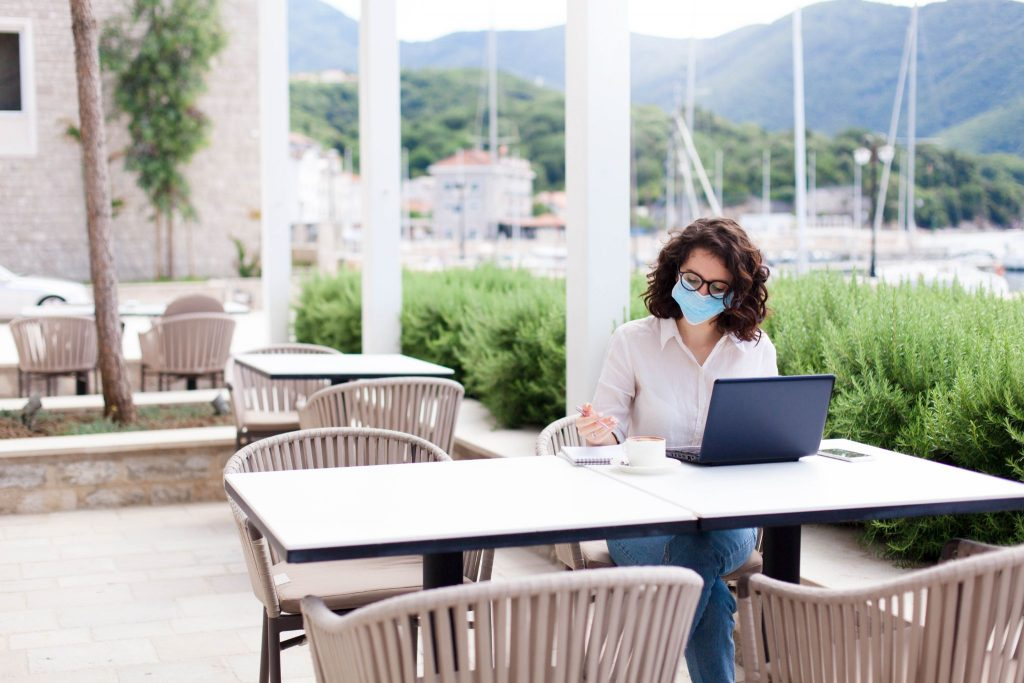women working at cafe with face mask